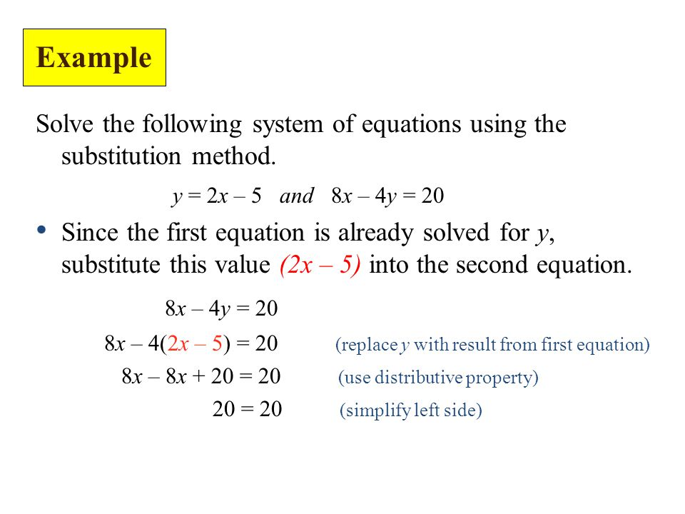 Solve the following system of equations using the substitution method.