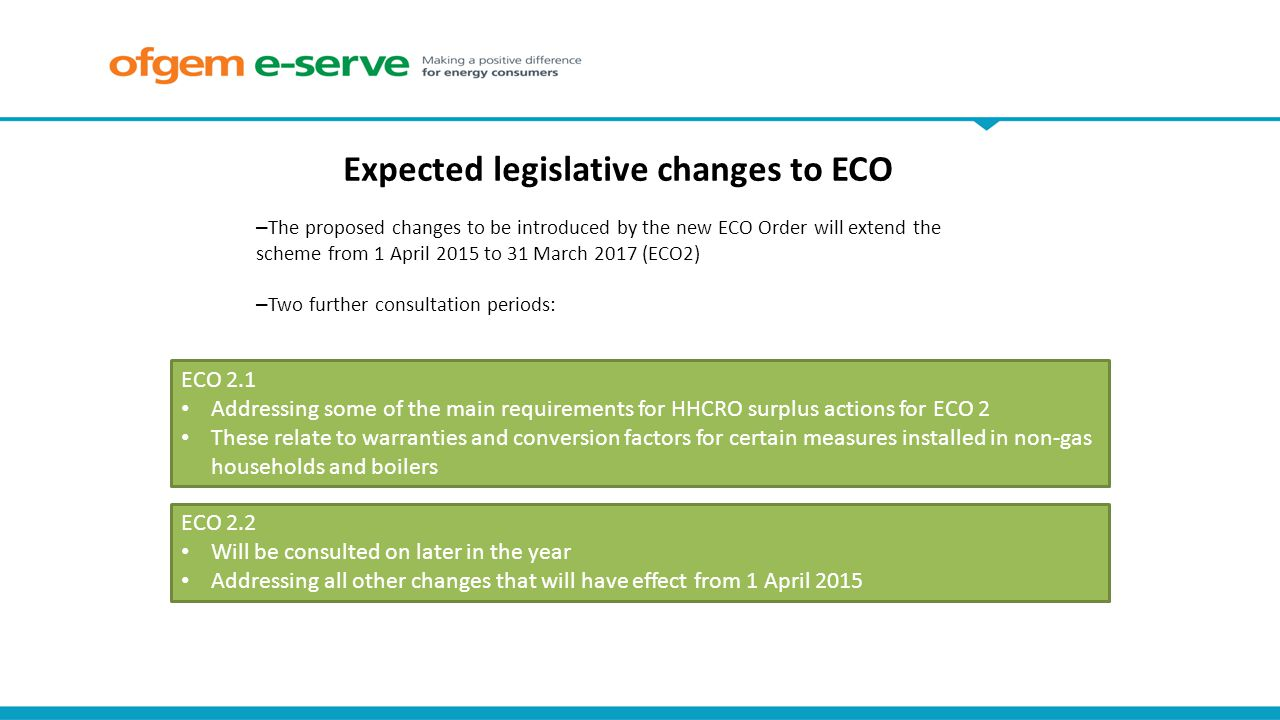 Expected legislative changes to ECO ECO 2.2 Will be consulted on later in the year Addressing all other changes that will have effect from 1 April 2015 ECO 2.1 Addressing some of the main requirements for HHCRO surplus actions for ECO 2 These relate to warranties and conversion factors for certain measures installed in non-gas households and boilers – The proposed changes to be introduced by the new ECO Order will extend the scheme from 1 April 2015 to 31 March 2017 (ECO2) – Two further consultation periods: