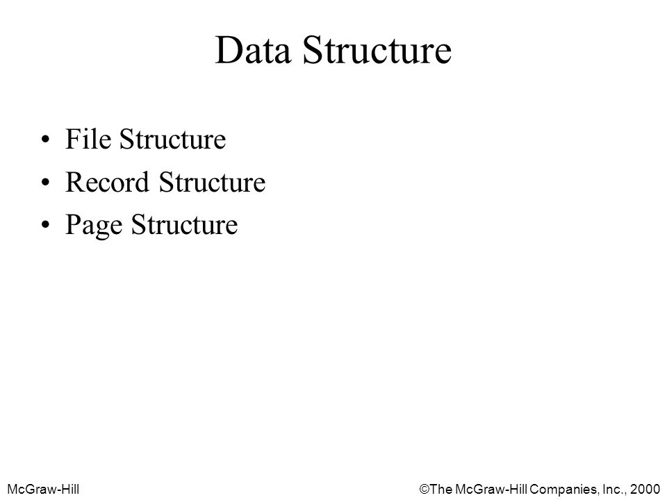 McGraw-Hill©The McGraw-Hill Companies, Inc., 2000 Data Structure File Structure Record Structure Page Structure
