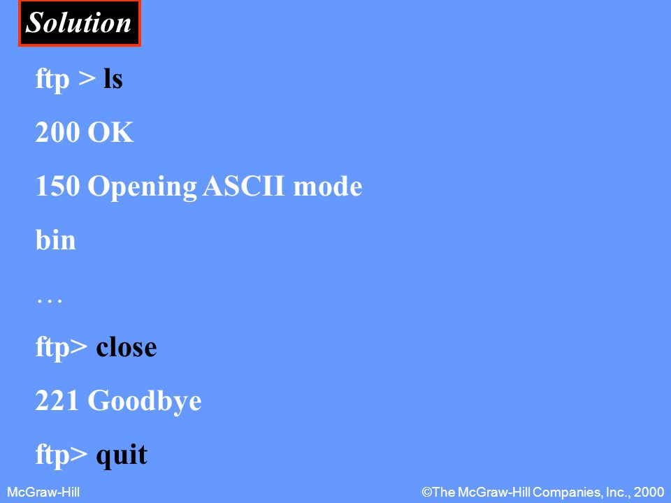 McGraw-Hill©The McGraw-Hill Companies, Inc., 2000 Solution ftp > ls 200 OK 150 Opening ASCII mode bin … ftp> close 221 Goodbye ftp> quit
