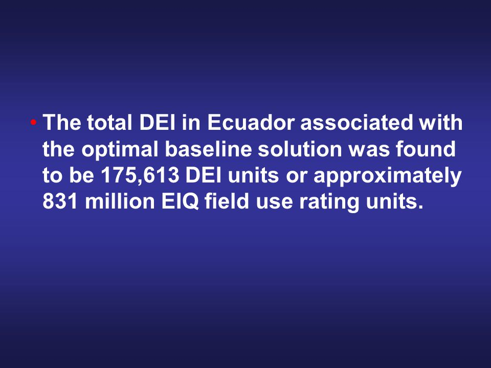 The total DEI in Ecuador associated with the optimal baseline solution was found to be 175,613 DEI units or approximately 831 million EIQ field use rating units.