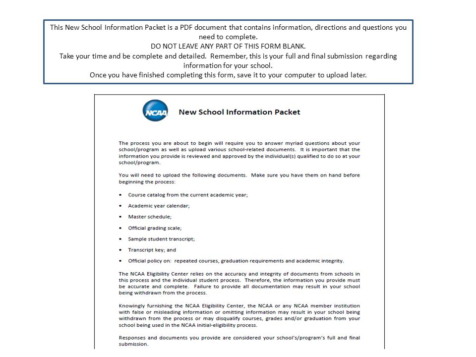 This New School Information Packet is a PDF document that contains information, directions and questions you need to complete.