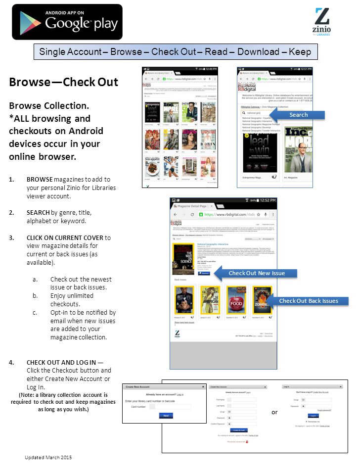 Android TM Mobile App Instructions  Browse—Check Out Browse