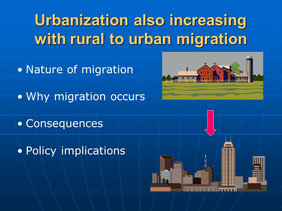 Urbanization also increasing with rural to urban migration Nature of migration Why migration occurs Consequences Policy implications