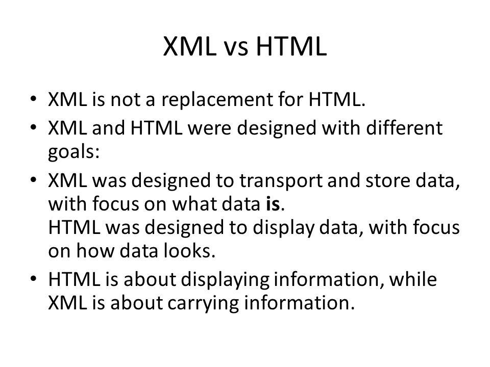 xml primer 2 history sgml vs html vs xml sgml (1960) xml(1996 XML vs XHTML xml vs html xml is not a replacement for html