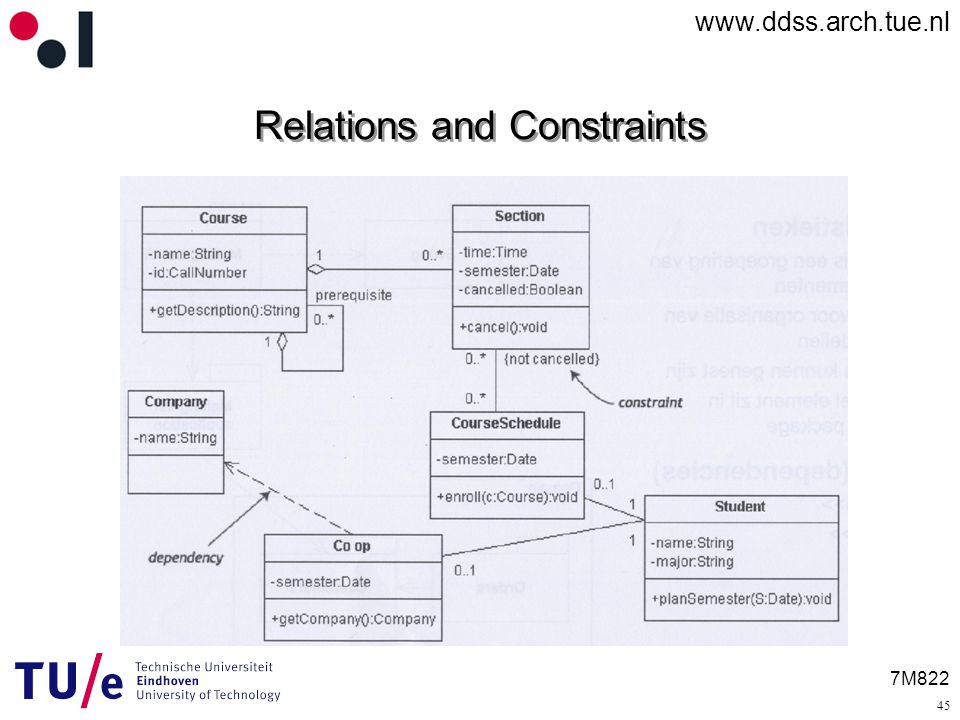7M822 Relations and Constraints 45