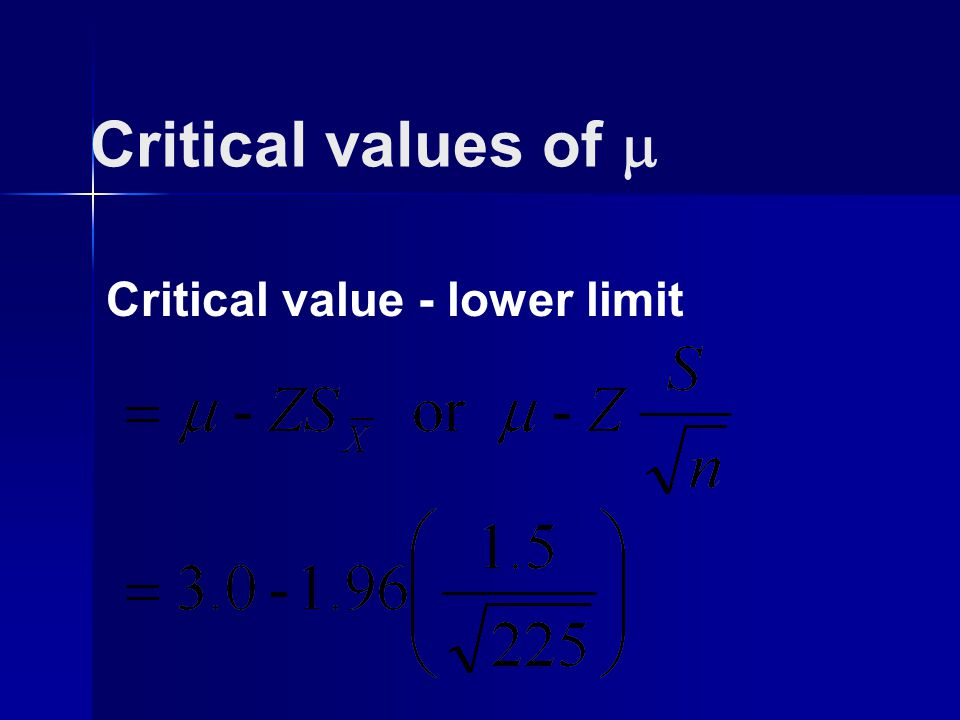 Critical value - lower limit Critical values of 