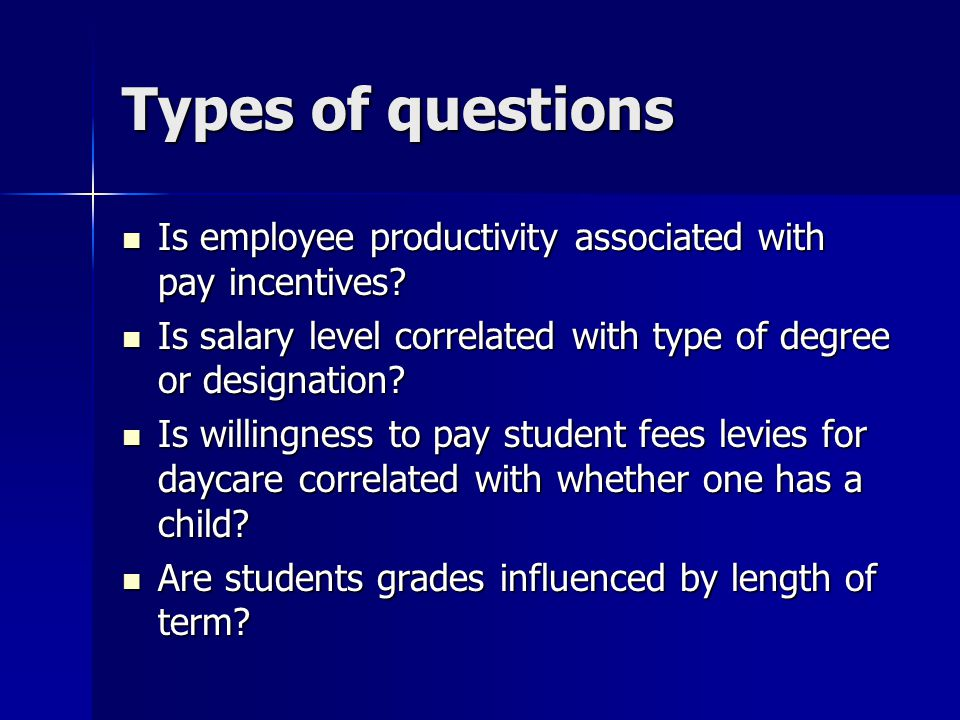 Types of questions Is employee productivity associated with pay incentives.