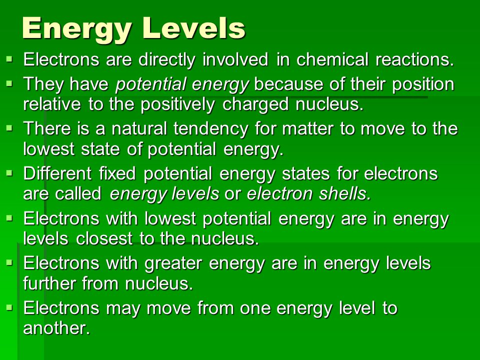 Energy Levels  Electrons are directly involved in chemical reactions.