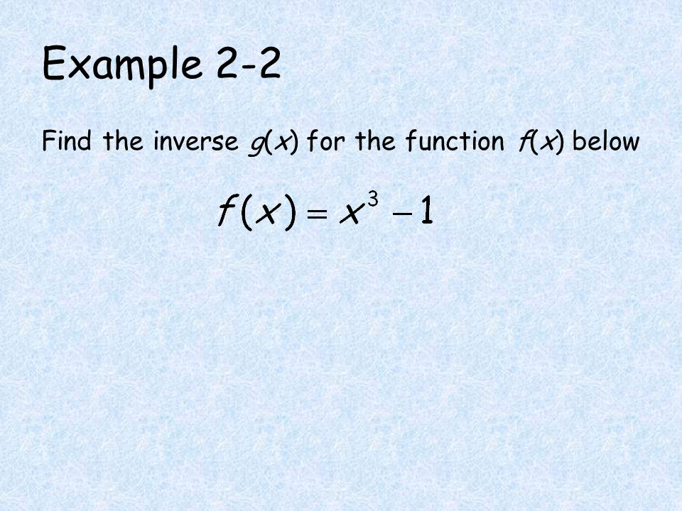 Example 2-2 Find the inverse g(x) for the function f(x) below