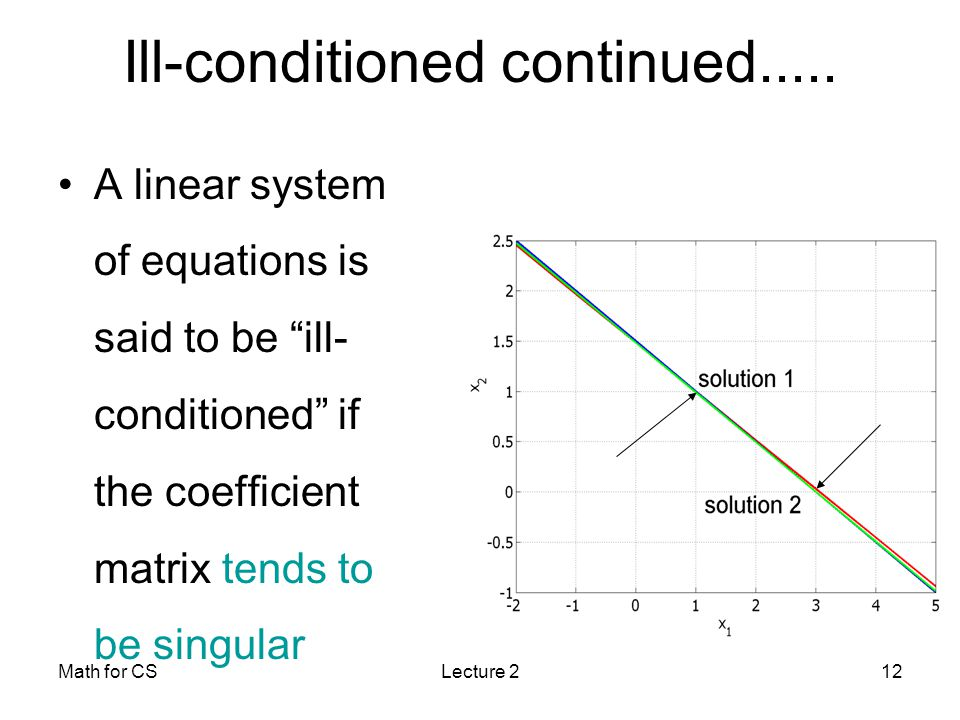 Math for CSLecture 212 Ill-conditioned continued.....