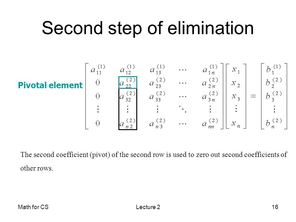 Math for CSLecture 216 Second step of elimination Pivotal element The second coefficient (pivot) of the second row is used to zero out second coefficients of other rows.
