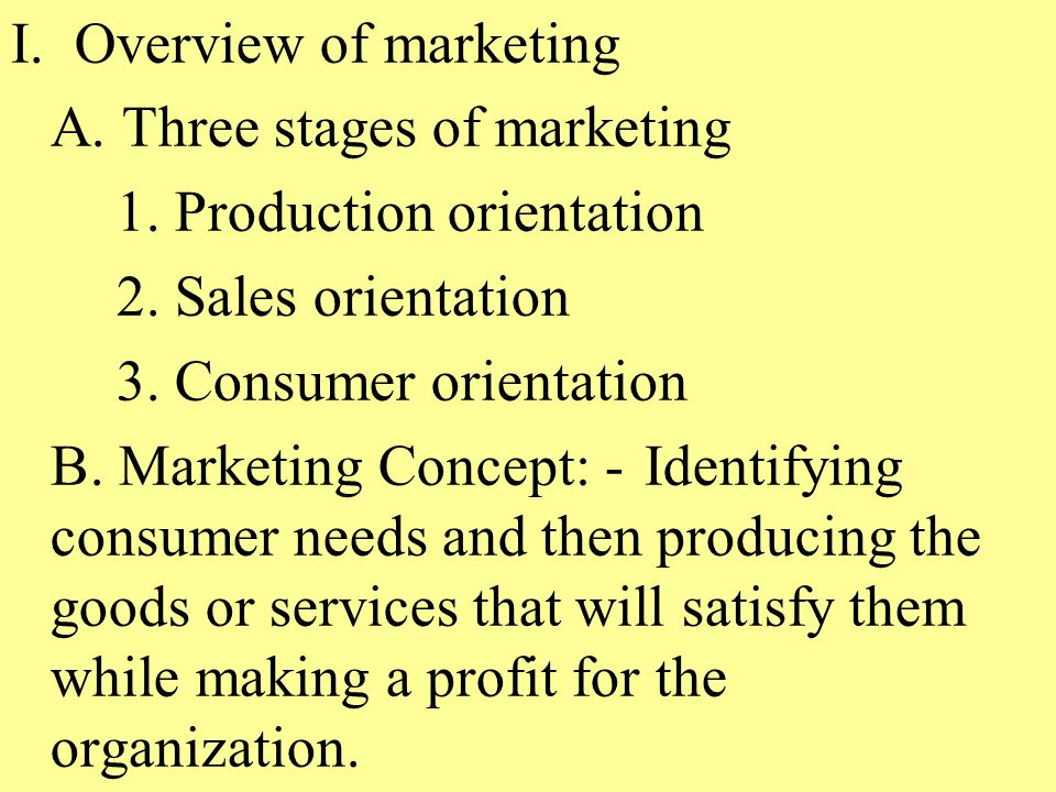 I. Overview of marketing A. Three stages of marketing 1.