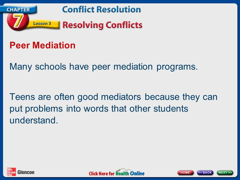 Chapter 7 Conflict Resolution Lesson 3 Resolving Conflicts Next