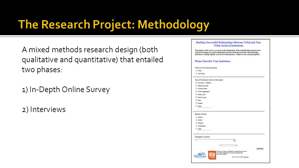 A mixed methods research design (both qualitative and quantitative) that entailed two phases: 1) In-Depth Online Survey 2) Interviews