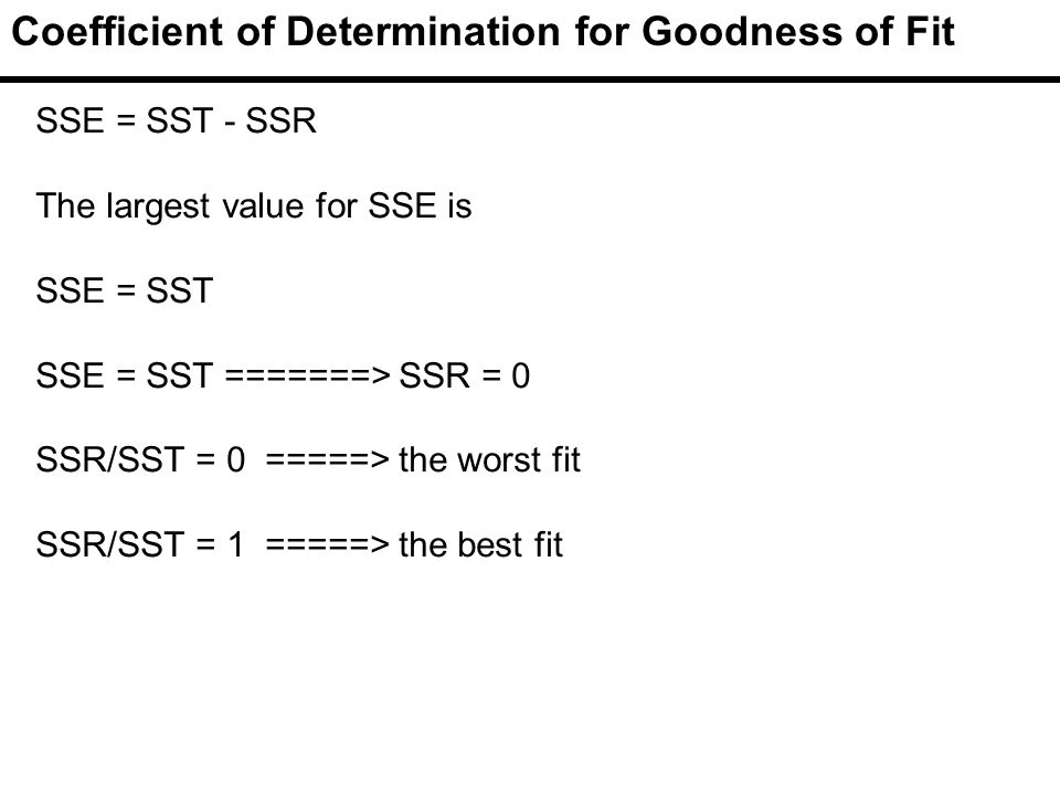 Coefficient of Determination for Goodness of Fit SSE = SST - SSR The largest value for SSE is SSE = SST SSE = SST =======> SSR = 0 SSR/SST = 0 =====> the worst fit SSR/SST = 1 =====> the best fit