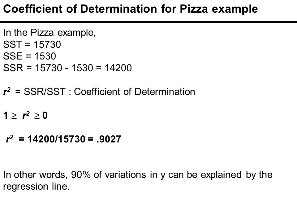 Coefficient of Determination for Pizza example In the Pizza example, SST = SSE = 1530 SSR = = r 2 = SSR/SST : Coefficient of Determination 1  r 2  0 r 2 = 14200/15730 =.9027 In other words, 90% of variations in y can be explained by the regression line.