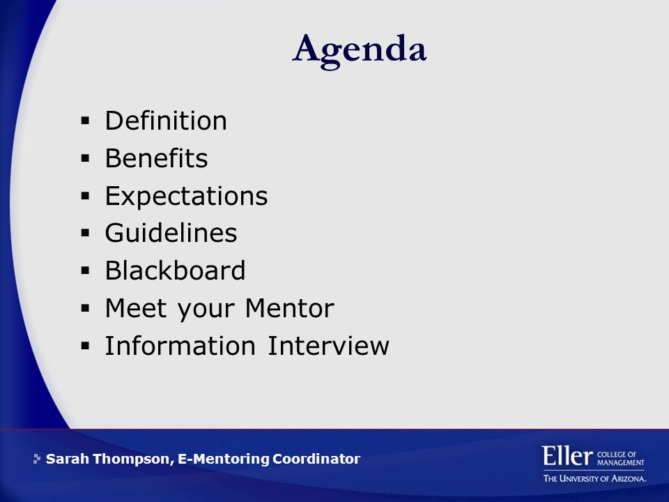 Sarah Thompson, E-Mentoring Coordinator Agenda  Definition  Benefits  Expectations  Guidelines  Blackboard  Meet your Mentor  Information Interview