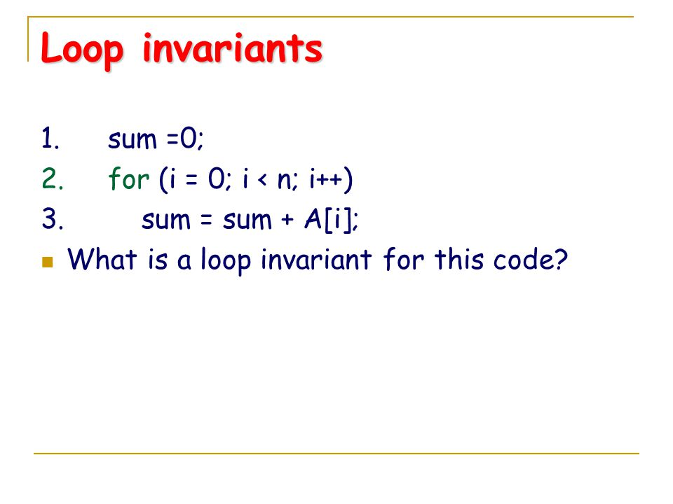 loop invariant bubble sort