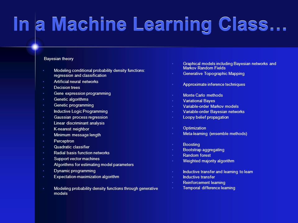 In a Machine Learning Class… Bayesian theory Modeling conditional probability density functions: regression and classification Artificial neural networks Decision trees Gene expression programming Genetic algorithms Genetic programming Inductive Logic Programming Gaussian process regression Linear discriminant analysis K-nearest neighbor Minimum message length Perceptron Quadratic classifier Radial basis function networks Support vector machines Algorithms for estimating model parameters Dynamic programming Expectation-maximization algorithm Modeling probability density functions through generative models Graphical models including Bayesian networks and Markov Random Fields Generative Topographic Mapping Approximate inference techniques Monte Carlo methods Variational Bayes Variable-order Markov models Variable-order Bayesian networks Loopy belief propagation Optimization Meta-learning (ensemble methods) Boosting Bootstrap aggregating Random forest Weighted majority algorithm Inductive transfer and learning to learn Inductive transfer Reinforcement learning Temporal difference learning