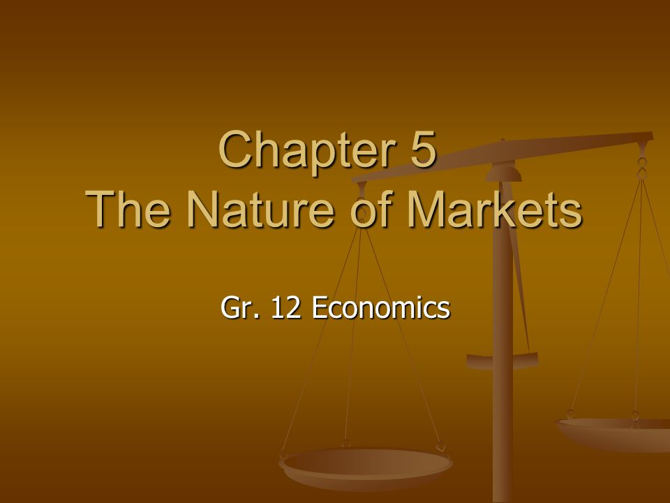 Chapter 5 The Nature of Markets Gr. 12 Economics
