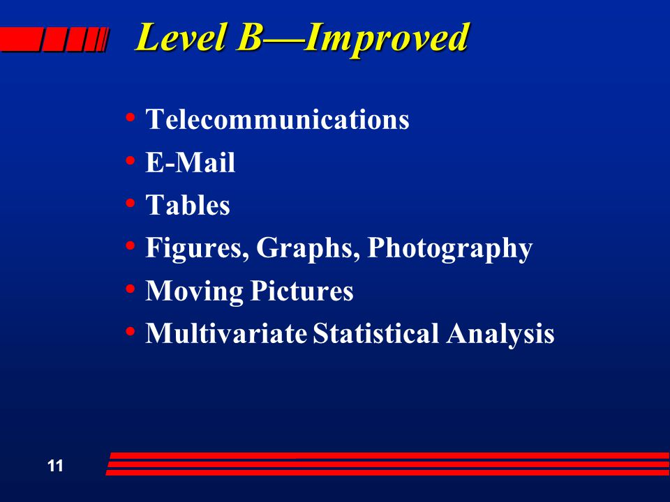 11 Level B—Improved Telecommunications  Tables Figures, Graphs, Photography Moving Pictures Multivariate Statistical Analysis