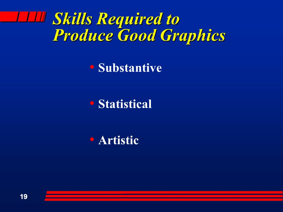 19 Skills Required to Produce Good Graphics Substantive Statistical Artistic