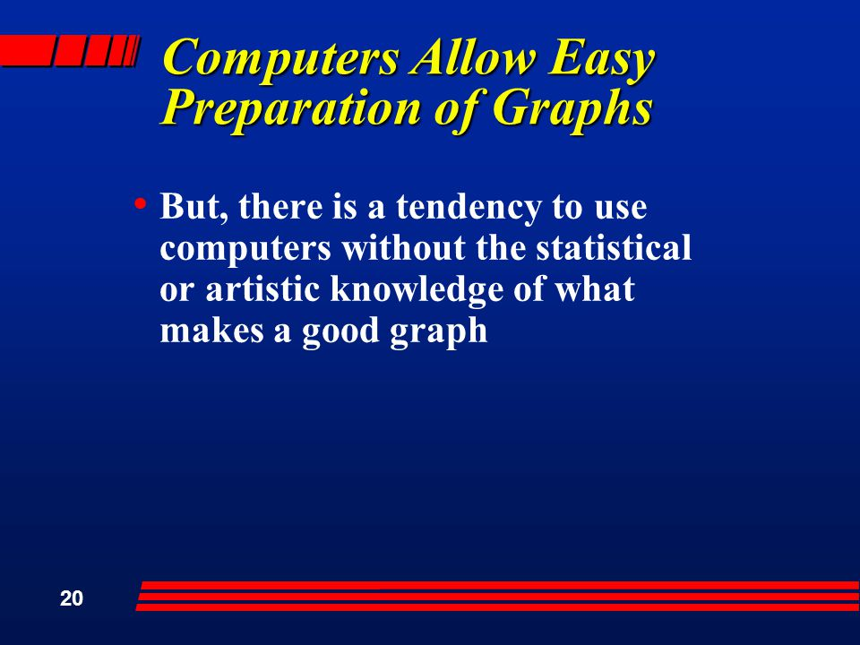 20 Computers Allow Easy Preparation of Graphs But, there is a tendency to use computers without the statistical or artistic knowledge of what makes a good graph