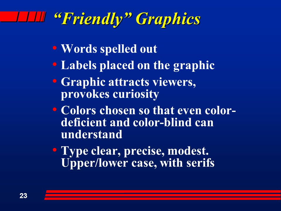 23 Friendly Graphics Words spelled out Labels placed on the graphic Graphic attracts viewers, provokes curiosity Colors chosen so that even color- deficient and color-blind can understand Type clear, precise, modest.