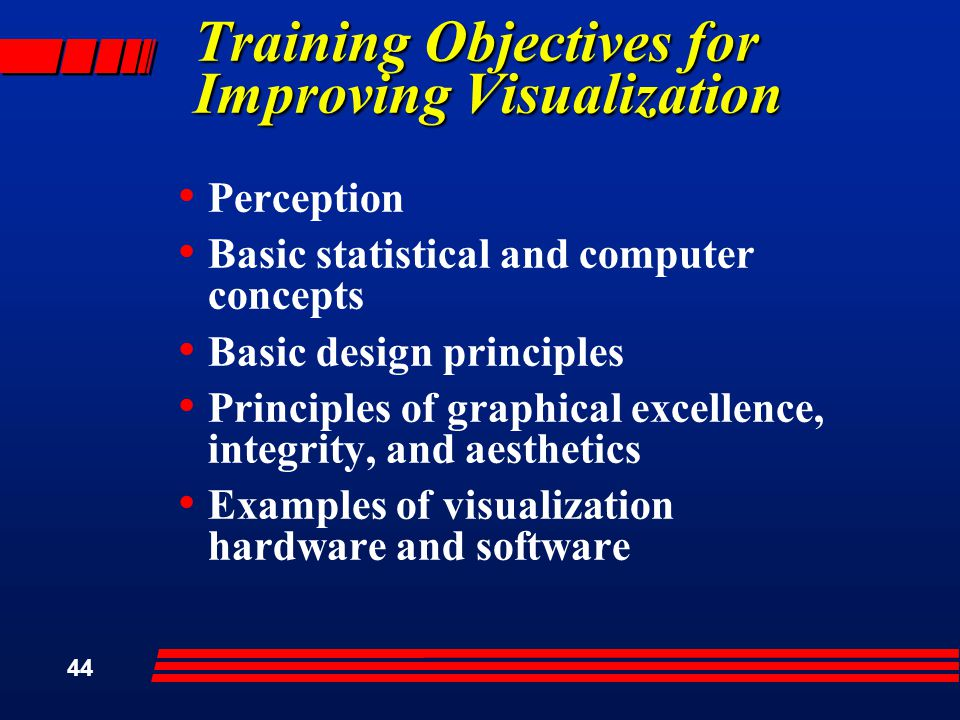 44 Training Objectives for Improving Visualization Perception Basic statistical and computer concepts Basic design principles Principles of graphical excellence, integrity, and aesthetics Examples of visualization hardware and software