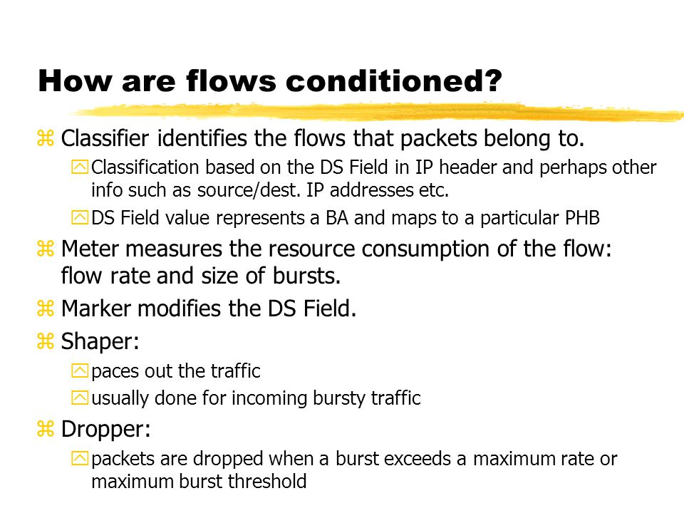 How are flows conditioned. zClassifier identifies the flows that packets belong to.