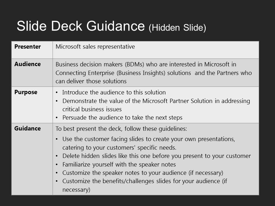 Slide Deck Guidance (Hidden Slide) PresenterMicrosoft sales representative Audience Business decision makers (BDMs) who are interested in Microsoft in Connecting Enterprise (Business Insights) solutions and the Partners who can deliver those solutions Purpose Introduce the audience to this solution Demonstrate the value of the Microsoft Partner Solution in addressing critical business issues Persuade the audience to take the next steps Guidance To best present the deck, follow these guidelines: Use the customer facing slides to create your own presentations, catering to your customers specific needs.