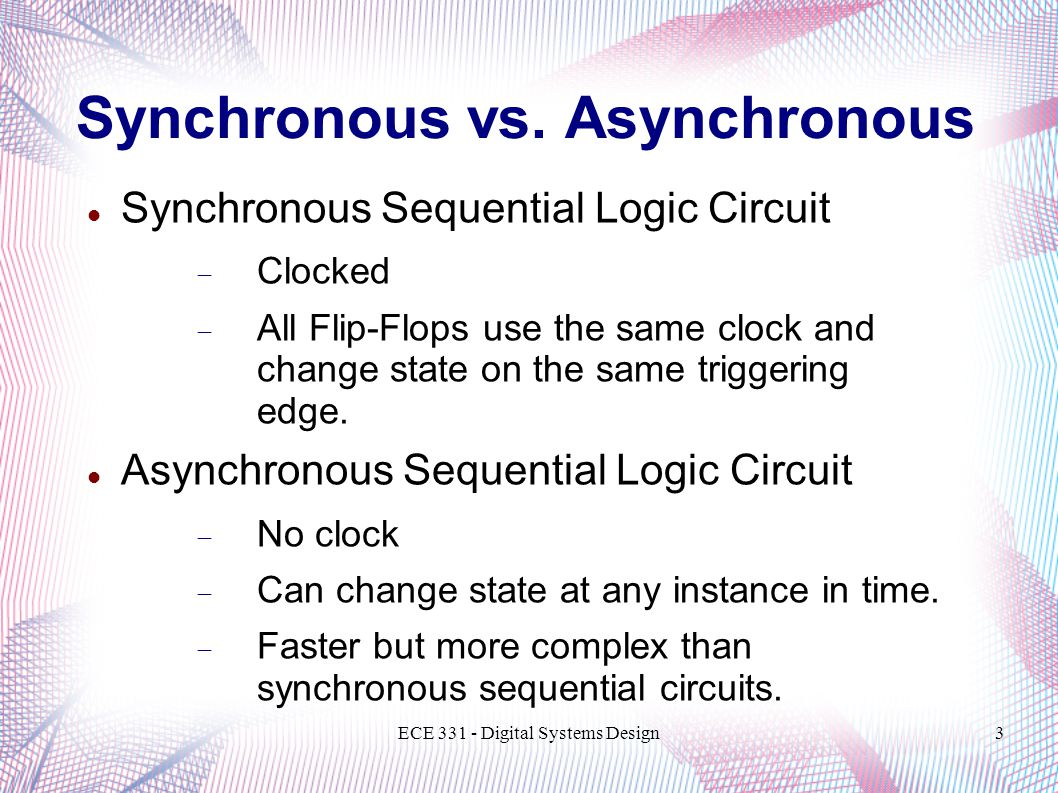 Ece 331 Digital Systems Design Introduction To Sequential Logic Circuit And Design3 Synchronous Vs