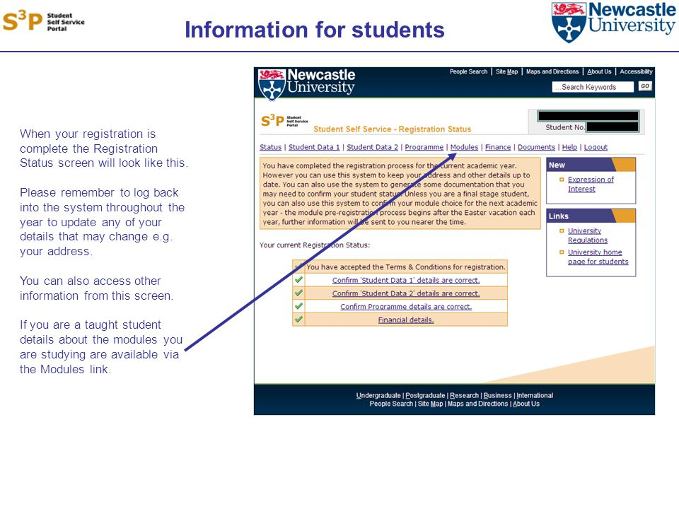 Information for students When your registration is complete the Registration Status screen will look like this.