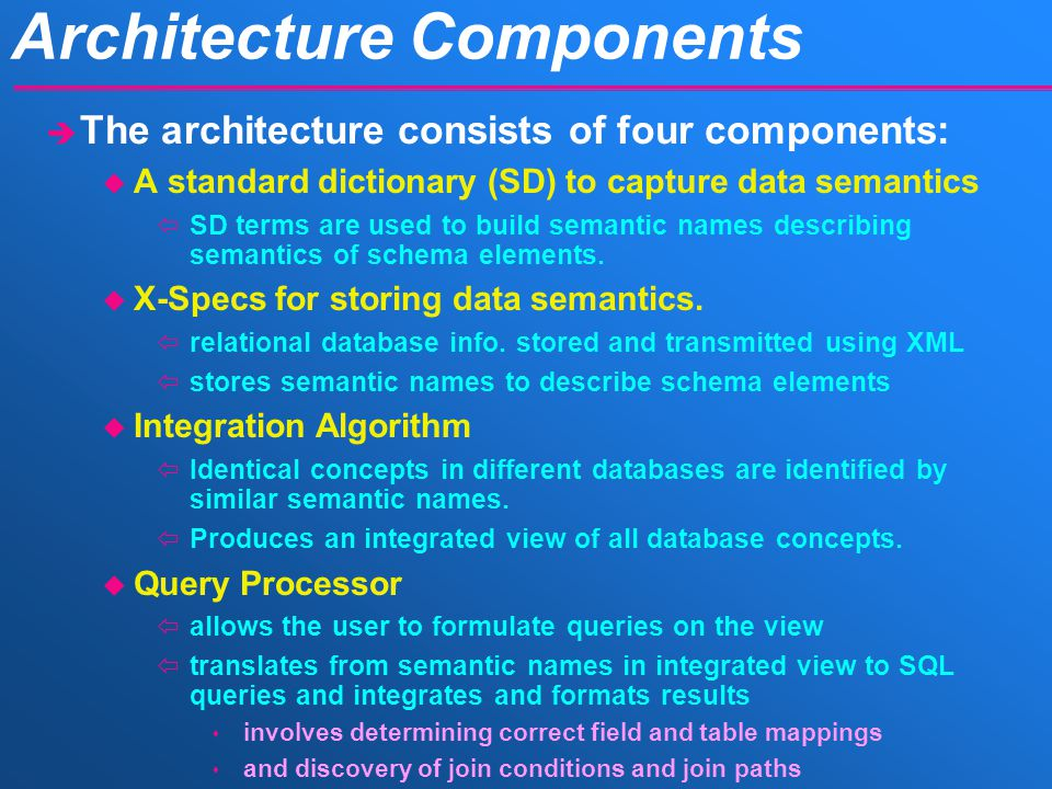Architecture Components è The architecture consists of four components: u A standard dictionary (SD) to capture data semantics ïSD terms are used to build semantic names describing semantics of schema elements.