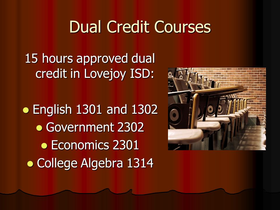 Dual Credit Courses 15 hours approved dual credit in Lovejoy ISD: English 1301 and 1302 English 1301 and 1302 Government 2302 Government 2302 Economics 2301 Economics 2301 College Algebra 1314 College Algebra 1314