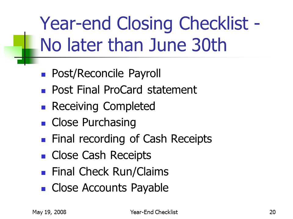 Year-End Planning and Checklist Legal Basis Reporting