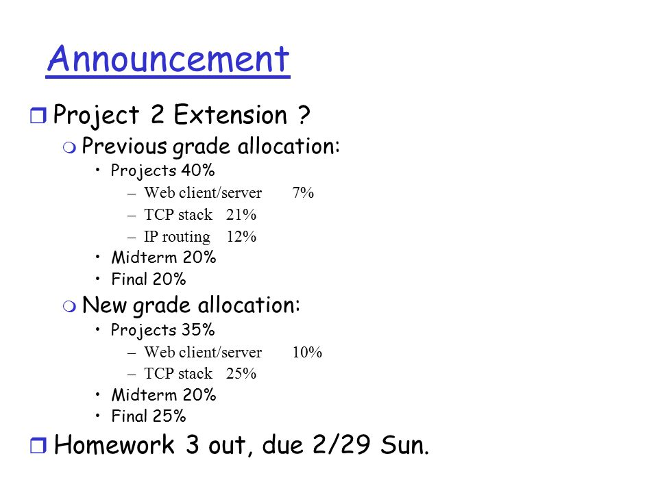 Announcement r Project 2 Extension .