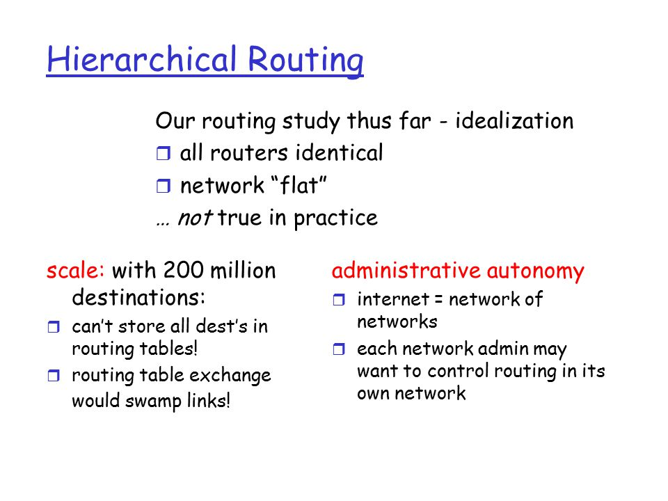 Hierarchical Routing scale: with 200 million destinations: r can't store all dest's in routing tables.