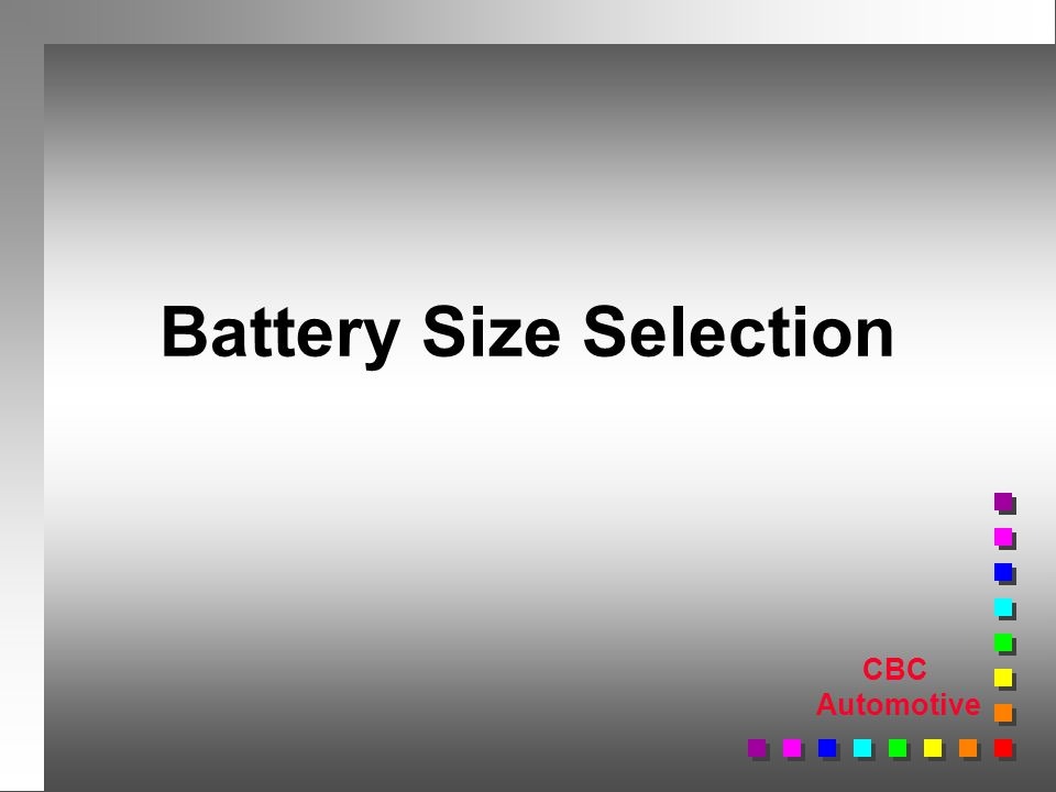 CBC Automotive Battery Size Selection