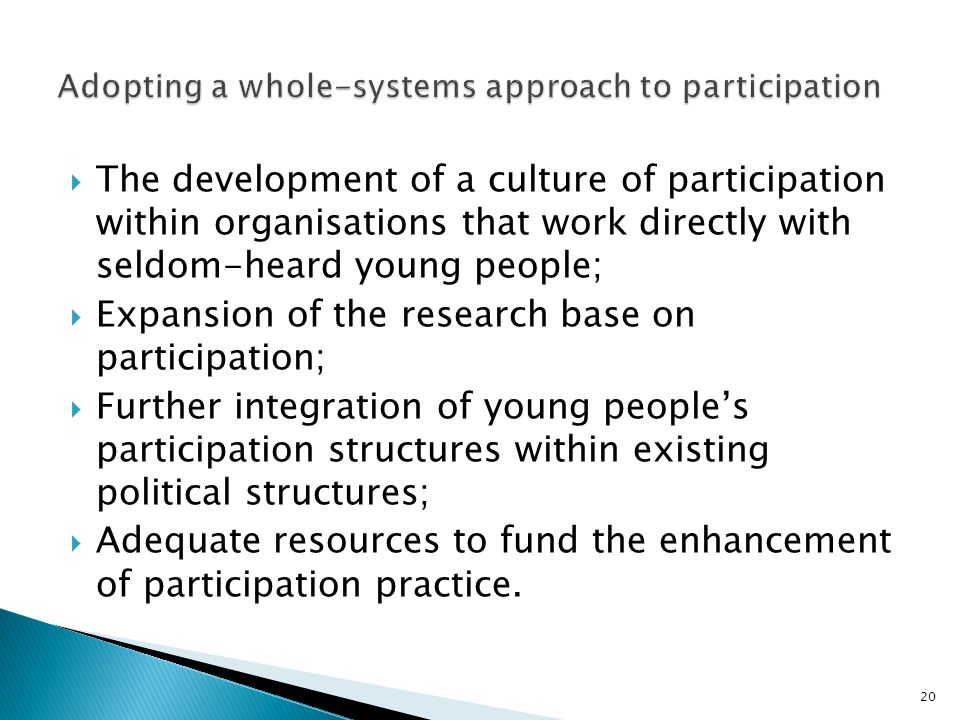 The development of a culture of participation within organisations that work directly with seldom-heard young people;  Expansion of the research base on participation;  Further integration of young people's participation structures within existing political structures;  Adequate resources to fund the enhancement of participation practice.