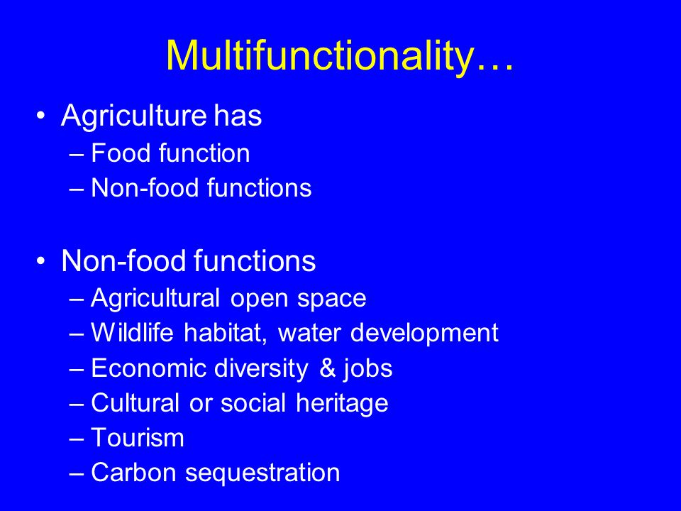 Multifunctionality… Agriculture has –Food function –Non-food functions Non-food functions –Agricultural open space –Wildlife habitat, water development –Economic diversity & jobs –Cultural or social heritage –Tourism –Carbon sequestration
