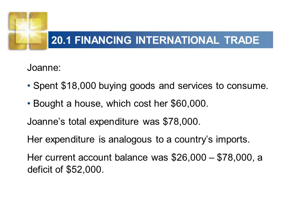 20.1 FINANCING INTERNATIONAL TRADE Joanne: Spent $18,000 buying goods and services to consume.