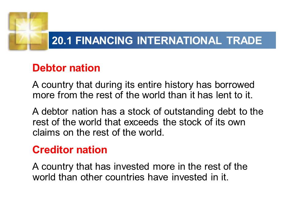 20.1 FINANCING INTERNATIONAL TRADE Debtor nation A country that during its entire history has borrowed more from the rest of the world than it has lent to it.
