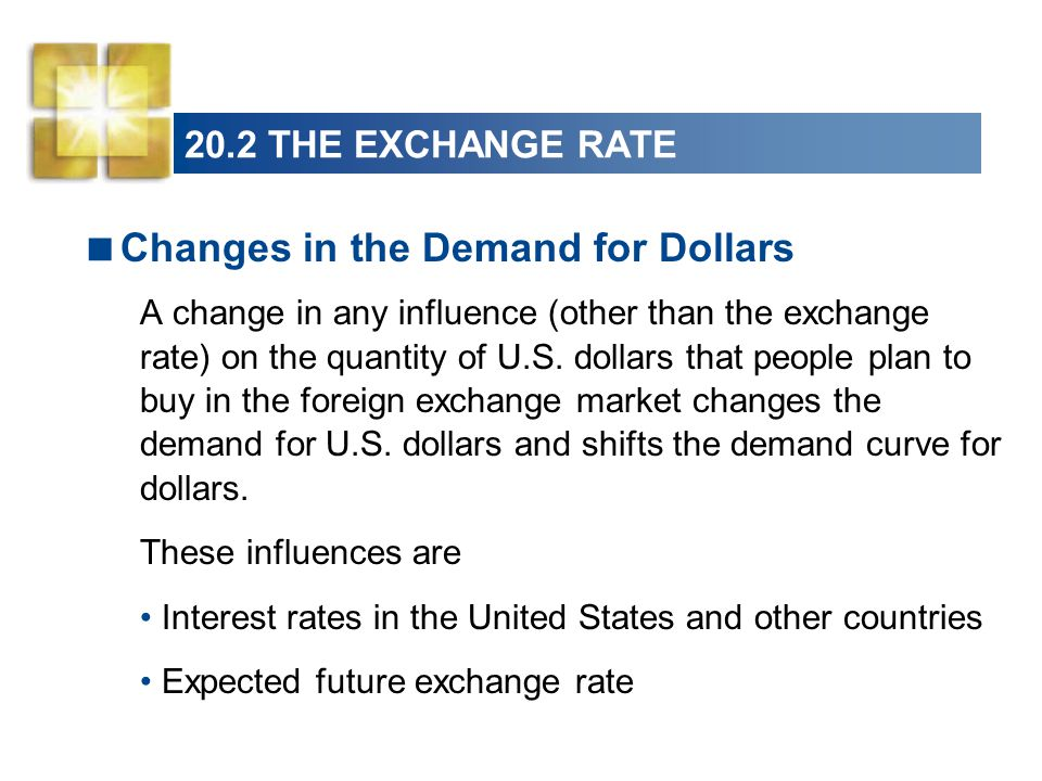  Changes in the Demand for Dollars A change in any influence (other than the exchange rate) on the quantity of U.S.