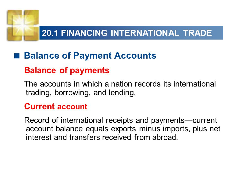 20.1 FINANCING INTERNATIONAL TRADE  Balance of Payment Accounts Balance of payments The accounts in which a nation records its international trading, borrowing, and lending.