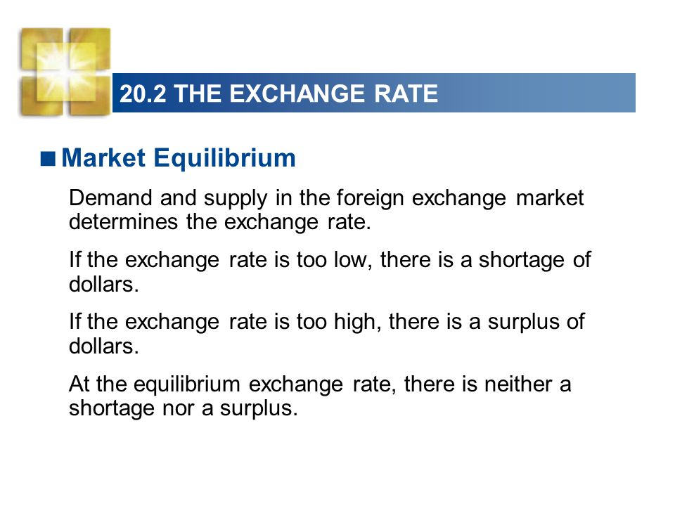 20.2 THE EXCHANGE RATE  Market Equilibrium Demand and supply in the foreign exchange market determines the exchange rate.
