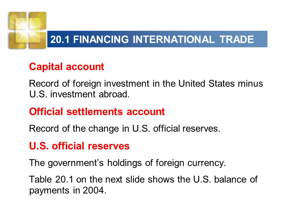 20.1 FINANCING INTERNATIONAL TRADE Capital account Record of foreign investment in the United States minus U.S.