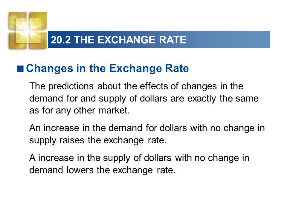  Changes in the Exchange Rate The predictions about the effects of changes in the demand for and supply of dollars are exactly the same as for any other market.