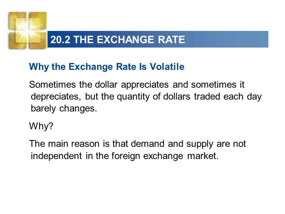 20.2 THE EXCHANGE RATE Why the Exchange Rate Is Volatile Sometimes the dollar appreciates and sometimes it depreciates, but the quantity of dollars traded each day barely changes.